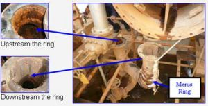 a lot of corrosion upstream the Merus Ring compared to the downstream pipe