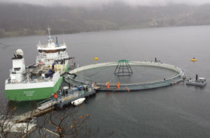 Aquaculture with supply ship in the fjord
