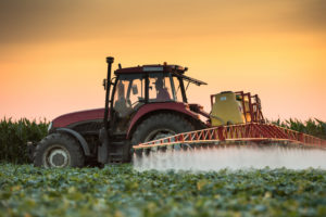 Sprayer on a tractor